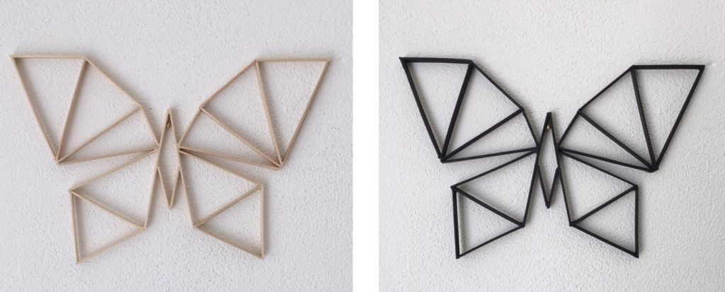 geometrische vlinders hout en zwart