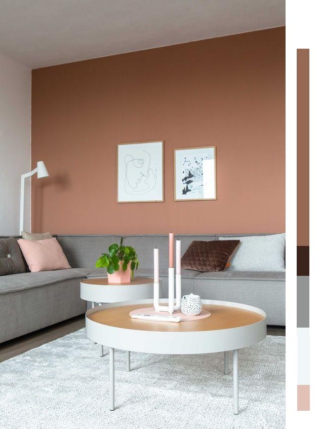 bruine muur, terracotta tinten, kleurencombinatie