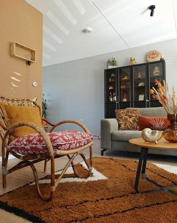 kleurencombinatie terracotta kleuren, stoer, een mix van stijlen