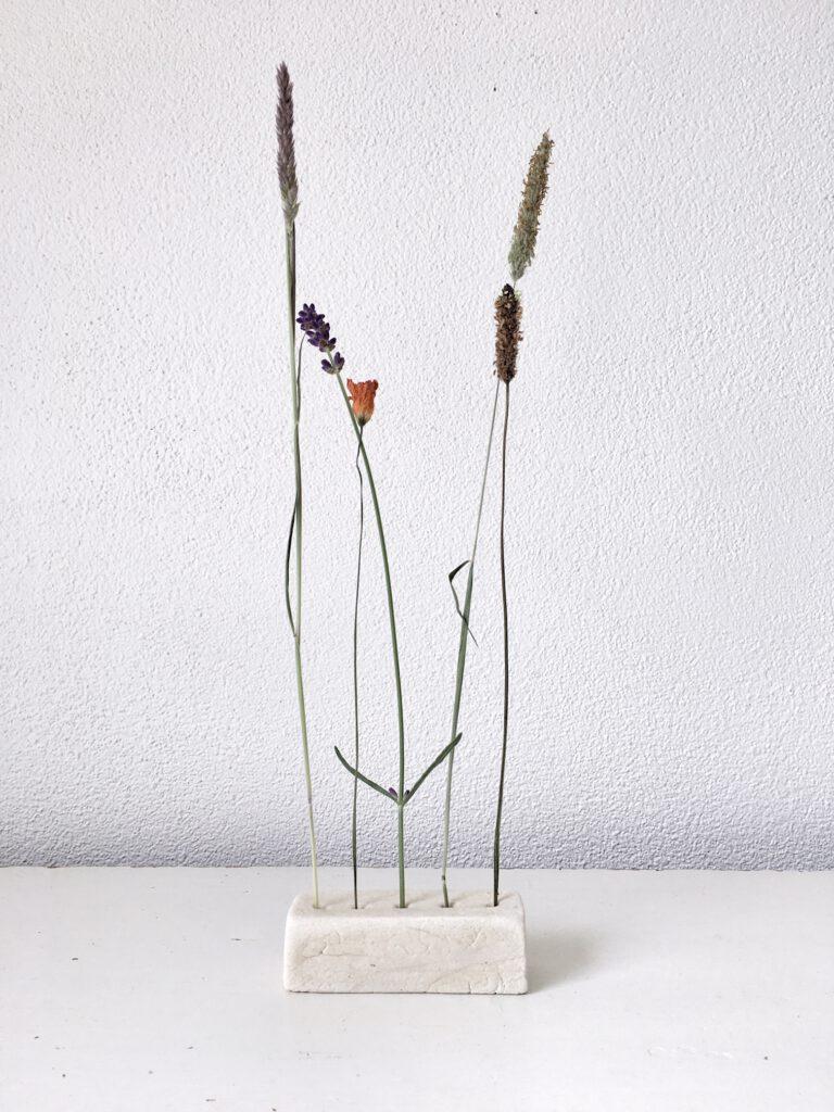 Klei display droogbloemen